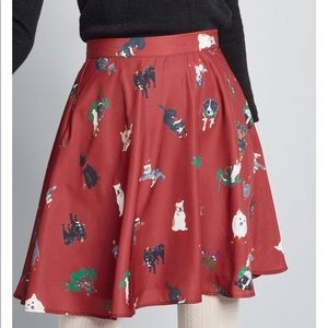 ModCloth Skater Skirt In Christmas Dogs & Cats